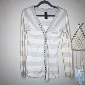 Free People | White Cardigan with Metal Accents